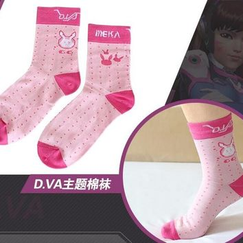 10 PAIRS mixed WATCH OVER Cosplay Game OW DVA Thigh Lolita Printed Pantyhose D.VA SOCKS Costume SOCKS