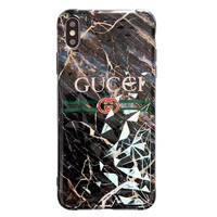 GUCCI tide brand simple marble pattern iphone xs max mobile phone case cover Black