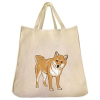 Shiba Inu Red Color Full Body Design Extra Large Eco Friendly Reusable Cotton Canvas Tote Bag