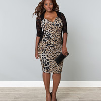 Plus Size Black & Leopard Stop & Stare Wiggle Dress
