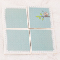 Eco Friendly Tile Coaster Set in Little Blue Bird Theme With Foam Backing (4) Dishwasher Safe