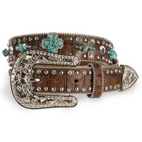 Nocona Turquoise-hue Stone Cross & Croc Print Leather Belt - Sheplers
