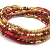 Seed bead wrap stretch bracelets, stacking, beaded, boho anklet, bohemian, stretchy stackable multi strand, red gold yellow khaki brown