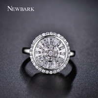 NEWBARK Channel Setting Round Ring Brilliant AAA CZ Diamond Engagement Rings For Women White Gold Plated Wedding Jewelry
