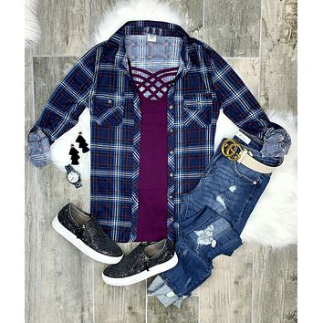 Penny Plaid Flannel Top - Navy/Plum