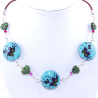 Blue butterfly stone green ceramic leaf bead light brown leather cord necklace, Adjustable string silver, Hot pink Swarovski crystal, Choker