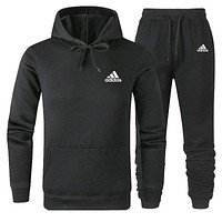 Adidas Autumn And Winter New Fashion Letter Print Women Men Sports Leisure Hooded Long Sleeve Sweater And Pants Two Piece Suit Black