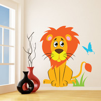 Vinyl Wall Kids Decal Lion with Butterfly / Art Home Baby Animal Tiger Decor Sticker / Child Kids Room Decoration + Free Random Decal Gift!