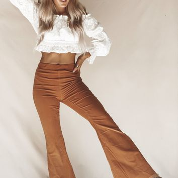 Put Your Re-Cord On Distressed Corduroy Camel Flares