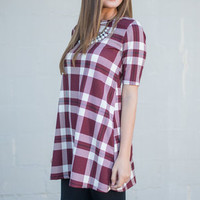 Plaid Girls Club Dress, Burgundy