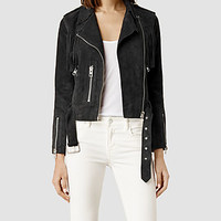 Womens Tassel Leather Biker Jacket (Washed Black) | ALLSAINTS.com