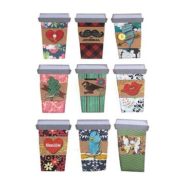 Coffee Time 3D Handcrafted Paper Stickers, 2-Inch, 9-Count