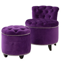The Marilyn Studded Chair & Footstool