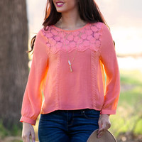 Scalloped Keyhole Blouse