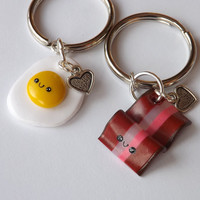 Bacon and Eggs Best Friend Keychains - BFF Keychains - Funny Keychains - Breakfast Food Eggs and Bacon Best Friends  - Kawaii Clay Charms