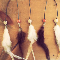 2 Feathers, Feather Hair Pin, Loose Feather Hair Ties, Braided Feather Hipster Ties