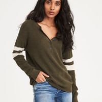 AE Varsity Stripe Henley Pullover Sweater, Olive