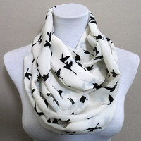 Bird pattern Infinity scarf, scarves, shawls, spring - fall - winter fashion