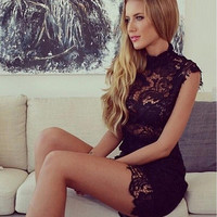 Hollow Out Embroidery High Collar Lace Dress Women's Sleeveless Package Hip Dress Sexy Club Dress Party Pencil Dress SM6