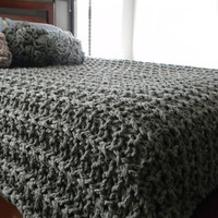 """116"""" x 100"""" Giant Super Chunky Knit Blanket - California King size - Free shipping - Pick your color"""