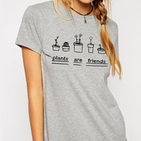Plants are Friends Printed Round Necked Casual Plain Top Shirt T-Shirt _ 3915
