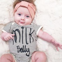 New arrival striped bodysuit baby clothes 2017 baby girl clothes jumpsuit toddler girl clothing letter baby boy clothes SR071