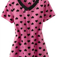 HeartSoul Heart To Forget You v-neck print scrub top. - Scrubs and Beyond