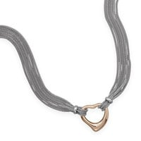 Multistrand Stainless Steel Mesh Necklace with Polished Rose Gold Plated Open Heart