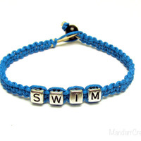 Swim Bracelet, Silver Tone Letters, Turquoise Hemp Jewelry for Swimmers