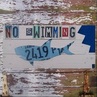 No Swimming Shark Bite Recycled Vintage License by recycledartco