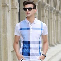 2017 Summer Men Polo Shirts Plaid Patchwork Short Sleeve Cool Mercerized Cotton Slim Fit Casual Business Men Shirts Luxury Brand