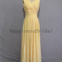 Yellow v-neck chiffon prom dress with pleat,prom dress,floor length dress 2014,chiffon prom dress,long evening dress 2014,real formal dress