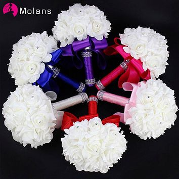 MOLANS White Ivory Flower Bridesmaid Wedding Foam Flowers Rose Bridal Bouquet Ribbon Fake Mariage Wedding Bouquets for Bride