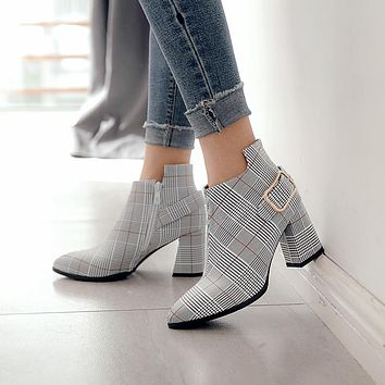 Women Fashion Plaid Pointed Toe High Heels Sexy Autumn Winter Ankle Boots
