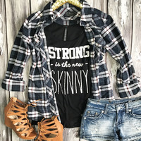 Country Nights Plaid Flannel Top - Navy