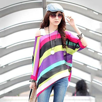 Women's Round Neck Colorful Stripe Batwing Sleeve Loose Bohemian Blouse & Vest