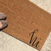 """Welcome Mat / Doormat Personalized with hi - 18x30"""" natural coir"""
