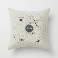 Solar Systm Map Pillow - beige and black Map the planets, astronomy,  classic, historic, apartment, dorm