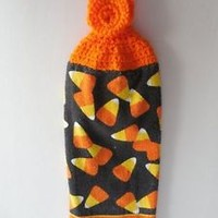 Halloween Kitchen Hanging Towel - Candy Corn - Crochet Top - Ready to Ship