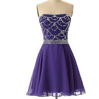 Purple Beading Homecoming Dress