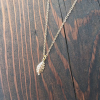 Tiny Leaf Charm Necklace in Gold with Delicate Chain