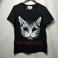 """Gucci"" Women Fashion Sequin Pattern Short Sleeve Casual T-shirt Top Tee"