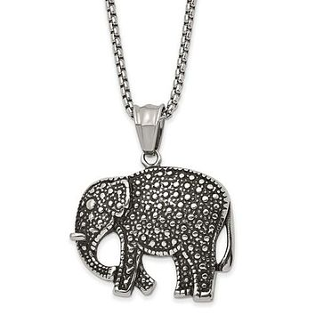 Stainless Steel Antiqued And Polished Elephant 24in Necklace