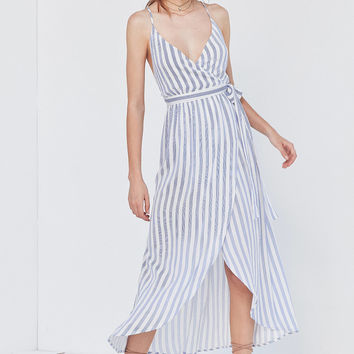 Cooperative Striped Maxi Wrap Dress | Urban Outfitters
