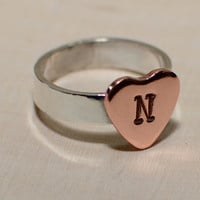 Sterling silver ring with personalized copper heart