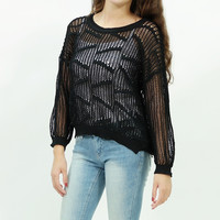 Knitted fishnet mesh batwing sweater top Black