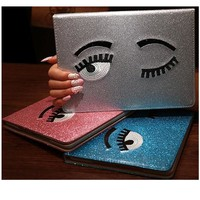 Smart Stand PU Leateher Case For Apple IPad 2017 9.7 ipad 5 6 Air Air 2 Tablet Cover Shining Big Eye Case Shell Girls Kids Gift