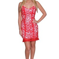 Beautifly Women's Red Thick Lace and White Satin Cocktail Dress
