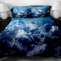 Anlye Hotel Bedding Collection Set 2 Sides Printing Clouds Mass in the Blue Sky Duvet Cover with 2 Silk-like Clouds Pillow Cases Twin