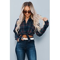 Country Pickin' Cropped Flannel (Navy)